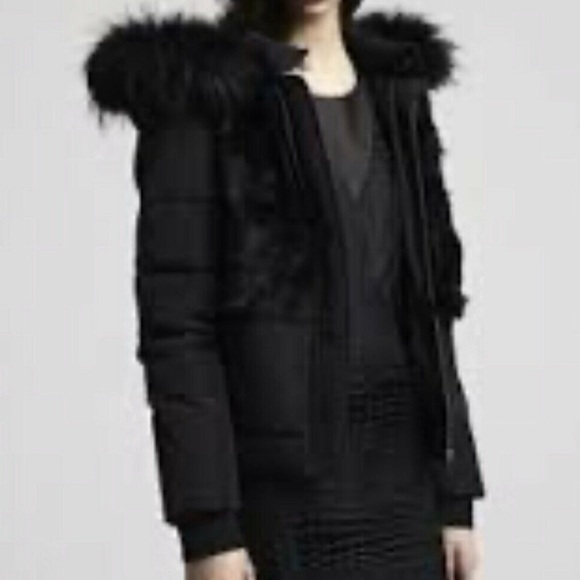 MAJE Down Jacket with rabbit fur front panels